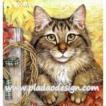 กระดาษสาพิมพ์ลาย สำหรับทำงาน เดคูพาจ Decoupage แนวภาำพ ลูกแมวตัวน้อยขนฟู น่ารักมากมาก กำลังตะกายก่ายรั้วไม้อยู่ A5