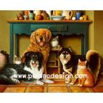 กระดาษสาพิมพ์ลาย สำหรับทำงาน เดคูพาจ Decoupage แนวภาพ น้องแมว 3 มากะพี่หมา 3 นั่งรวมตัวกันใต้โต๊ะเครื่องดื่ม A5