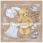 กระดาษสาพิมพ์ลาย สำหรับทำงาน เดคูพาจ Decoupage แนวภาพ หมีสาวน้อยหาชุดสวยเตรียมแต่งตัวไปออกเดท A5