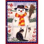 กระดาษสาพิมพ์ลาย สำหรับทำงาน เดคูพาจ Decoupage แนวภาพ แมวดำ2ตัว เล่นหิมะกะพี่สโนว์แมนตัวเบิ้ม A5