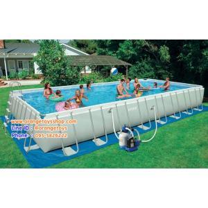 ( ขนาด 32 ฟุต ) Intex Ultra frame Pool 32 ฟุต เครื่องกรองระบบทราย POOL (RECTANGULAR) FRAME INTEX 28376 (975*488*132 CM), SAND FILTER AND CHLORGENERATOR