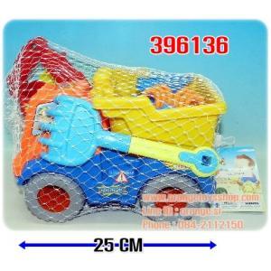ชุดรถเล่นทราย รถเข็นได้จริง พร้อมอุปกรณ์เล่นทรายหลังรถ **คละสี**