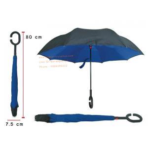 ร่มหุบกลับด้าน 2 ชั้น ร่มกลับด้าน ร่มหน้าฝน invert umbrella สามารถใช้ได้ทุกฤดูกาล ขาด 24 นิ้ว -(สีน้ำเงิน/ดำ)