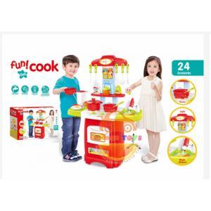 ชุดโต๊ะครัว มีเตาอบ มีไฟมีเสียง สีแดง (889-52) พร้อมอุปกรณ์ทำครัว. 24. ชิ้น