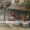 กระดาษสาพิมพ์ลาย สำหรับทำงาน เดคูพาจ Decoupage แนวภาำพ ภาพวาด Cafe ร้านกาแฟตะวันตกแบบน่ารักๆ เอาท์ดอร์ในบรรยากาศร่มรื่น ภาพสีซอฟต์ๆ (ปลาดาวดีไซน์)