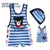 ชุดว่ายน้ำเด็กชาย VIVO-BINIYA สีน้ำเงิน วันพีชสกรีนลายน่ารัก พร้อมหมวก