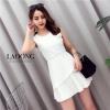 เดรสเกาหลี พร้อมส่ง Dress แขนกุดสีขาว