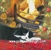 กระดาษสาพิมพ์ลาย สำหรับทำงาน เดคูพาจ Decoupage แนวภาพ แมวดำขาวนอนผิงไฟบนที่นอนลายสก๊อต