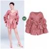 เสื้อผ้าเกาหลี พร้อมส่ง จั๊มสูท เนื้อผ้า Polyester ผสม Silk