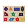 ของเล่นไม้ จิ๊กซอว์ไม้แบบหมุดดึงจับคู่รูปภาพลายรูปทรง