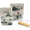 กล่องเก็บของทรงหนังสือแนววินเทจ 3 ใบชุด ลายโปสการ์ดการเดินทาง Paris Rome London Pisa