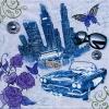 แนวภาพท่องเที่ยว รถยนต์ย้อนยุค กางเกงยีนต์ ผีเสื้อ แว่นกันแดด เป็นภาพโทนสีฟ้า เป็นภาพแนวยาว กระดาษแนพกิ้นสำหรับทำงาน เดคูพาจ Decoupage Paper Napkins ขนาด 33X33cm