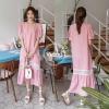เดรสเกาหลี พร้อมส่ง เดรสตัวยาว ผ้าฝ้ายนิ่ม แขนตุ๊กตา
