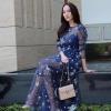 ชุดเดรสเกาหลี พร้อมส่ง เดรสยาว ผ้าตาข่าย
