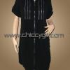เสื้อคลุมตัวยาวซิบหน้าสีดำ แต่งซิบที่อก มีกระเป๋าข้าง ผ้าเนื้อดีเกรดเอ (L)