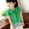 เสื้อแฟชั่นเด็ก สไตล์เกาหลีสีเขียว มีลายจุดสีขาว คอบัว แบบเก๋น่ารักๆ