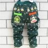กางเกงผ้าพอลแฟร้งสีเขียวอมฟ้า