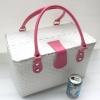 ชิ้นงานดิบ พลาสติกสาน ทำ Decoupage งานเพนท์ กระเป๋าปิ๊กนิค ขนาดใหญ่ สีขาว หูหนังสีชมพูสด L