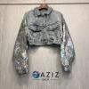 เสื้อเกาหลี พร้อมส่ง เสื้อแจ๊คเก็ต ยีนส์ ปักเลื่อม