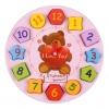 บล็อคไม้นาฬิกาไม้ ตัวเลข รูปทรง สอนเวลา