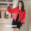 เสื้อเกาหลี พร้อมส่ง Jacket Gucci สีแดงสด