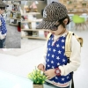 cisi เสื้อยืดเด็กคอกลมแขนยาว สี น้ำเงินลายดาว เก๋ น่ารัก สไตล์เกาหลี