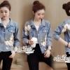 เสื้อเกาหลี พร้อมส่ง แจ็ตเก็ตยีนส์ ปักดอกไม้