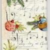แนวภาพคริสมาสต์ ของตกแต่งต้นคริสมาสต์ บนพื้นลายโน๊ตดนตรี ภาพลายกระจายเต็มแผ่น กระดาษแนพคินสำหรับทำงาน เดคูพาจ Decoupage Paper Napkins ขนาด 21X22cm