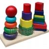 ของเล่นไม้บล็อกไม้สวมหลัก 3 เสา รูปทรงเรขาคณิต