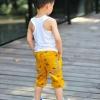 กางเกงเด็ก สีเหลือง ลายแบทแมน ตกแต่งกระเป๋าเก๋ๆ เทห์ๆ สไตล์ เกาหลี