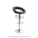 เก้าอี้บาร์ขาเหล็ก รุ่น Linux - เก้าอี้ร้านอาหาร ร้านกาแฟ เบาะหนังสีดำ