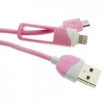 สายชาร์จ&ซิ้งค์ Eloop Quick charge & Data Cable 2 in1 สีชมพูอ่อน