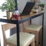 โต๊ะบาร์ลายบีชขอบดำ 2 ที่นั่ง แต่งร้านกาแฟ คอนโด (ลดพิเศษ 30%)