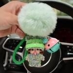 พวงกุญแจ พวงกุญแจคริสตัล พวงกุญแจตุ๊กตาชายหญิงพร้อมกระดิ่งน่ารักไฮโซ