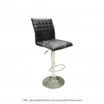 เก้าอี้บาร์ขาเหล็ก รุ่น Winner - เก้าอี้ร้านอาหาร ร้านกาแฟ เบาะหนังสีดำ