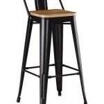 เก้าอี้บาร์เหล็ก พื้นนั่งไม้ ดีไซน์โมเดิร์น สำหรับแต่งร้านกาแฟ ร้านอาหาร