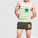ชุดกางเกงขาสั้น + เสื้อกล้าม : สีเขียวขี้ม้า