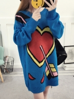 เสื้อผ้าแฟชั่นฤดูหนาว เสื้อกันหนาวตัวยาว สไตล์ Harajuku สีฟ้าน้ำเงินพิมพ์ลายหัวใจค่ะ