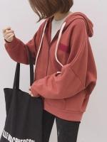 เสื้อผ้าแฟชั่นฤดูหนาว เสื้อกันหนาว drawstring hooded ซิปหน้ากระเป๋า 2 ข้าง มี 3สี คือ อิฐ กากี และเทาค่ะ