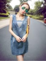 เสื้อตัวยาวสไตล์เกาหลีหรือใส่เป็นมินิเดรสก็น่ารักฝุดๆ แถมเสื้อยืดเกาะอกตัวใน