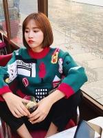เสื้อผ้าแฟชั่นฤดูหนาว เสื้อกันหนาวถักเน็ตติ้ง retro สีเขียวแดงลายการ์ตูน