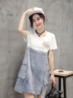 เดรสยีนส์สไตล์เกาหลี ช่วงบนตัดต่อผ้ายืด เนื้อผ้าดีสวมใส่สะบาย งานนำเข้าแบรนด์แท้คุณภาพดี