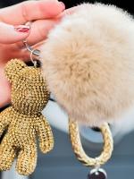 พวงกุญแจ พวงกุญแจคริสตัล พวงกุญแจตุ๊กตาหมีน่ารักไฮโซ