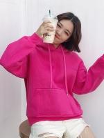 เสื้อผ้าแฟชั่นฤดูหนาว เสื้อกันหนาวมีฮู้ดแบบสวมหัว สไตล์ Harajuku สีชมพูสดใส ใส่ได้ทุกโอกาสค่ะ