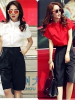 ชุดเซ็ทเสื้อ+กางเกง งานสไตล์เกาหลี กางเกงเอวยืดหยุ่นได้(ด้านหลัง) งานนำเข้าแบรนด์แท้คุณภาพดี