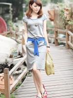 มินิเดรสผ้ายืดสไตล์เกาหลี เอวจั๊มยืดหยุ่นมีผ้าพูกโบว์ตัดต่อผ้าต่างสีเก๋ฝุดๆ