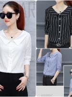 เสื้อสไตล์เกาหลี ผ่าหน้าติดกระดุม แต่งปกคอกว้าง เนื้อผ้าดีสวมใส่สบาย งานนำเข้าแบรนด์แท้ของเมืองนอก คุณภาพดี