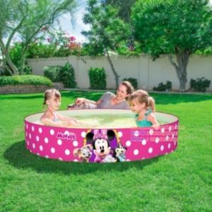 ( ขนาด 5 ฟุต ) สระน้ำขอบตั้งลาย มินนี่ Minnie mouse pool สีชมพู