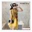 PR146 ผ้าพันคอแฟชั่น ผ้าฝ้าย พิมพ์ลายสวย สีเหลือง ขนาด ยาว 190 กว้าง 90 cm. thumbnail 5