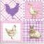 แนวภาพสัตว์ ไก่กระต่ายเป็ดในกรอบลายแต่ง เป็นภาพ 4 บล๊อค ภาพโทนสีชมพู กระดาษแนพกิ้นสำหรับทำงาน เดคูพาจ Decoupage Paper Napkins ขนาด 33X33cm thumbnail 1